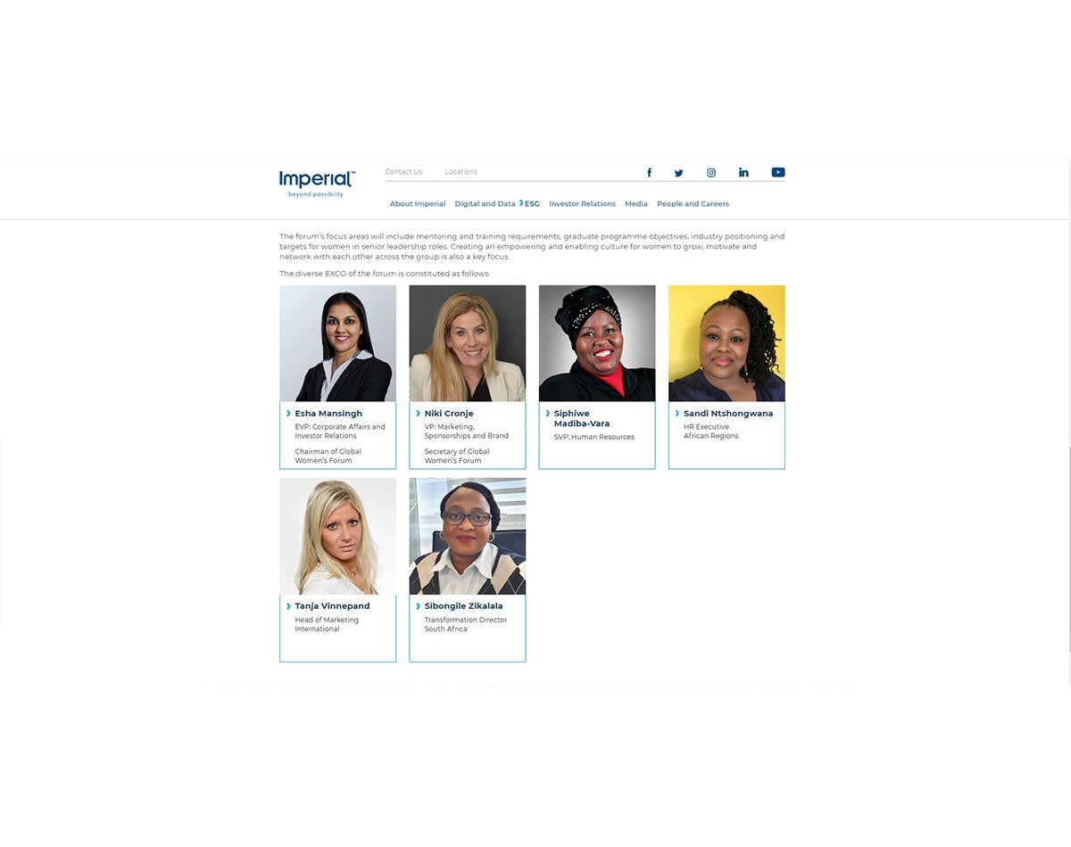 Imperial Logistics website - Woman's Forum