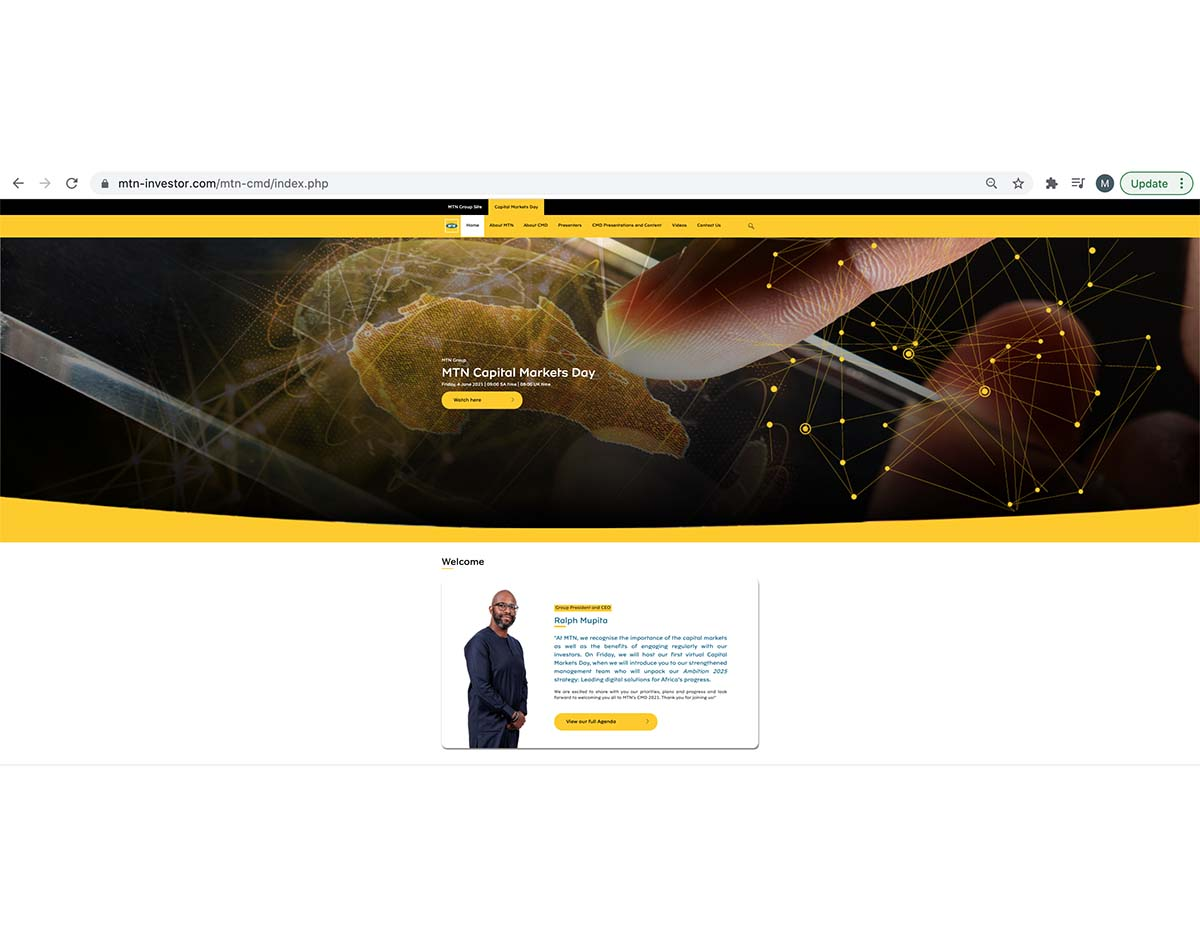 MTN Capital Markets Day Home page